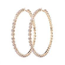 2017 New Trendy Rihanna Style Big Large Gold Plated Crystal Diamond Hoop Earrings