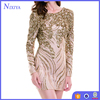 Fashion Sequin Fabric Long Sleeve Sexy Mini Night Party Dresses