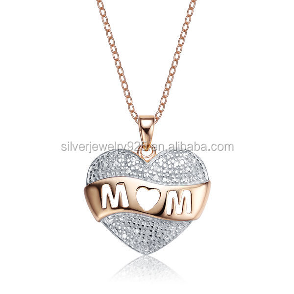 New silver jewelry catalog gold plated fake diamond mon heart necklace pendant design