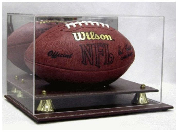 NFL FULL SIZE FOOTBALL BROWN LEATHER BASE UV ACRYLIC DISPLAY CASE