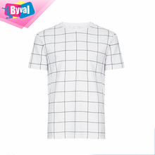 T Shirt Wholesale Cheap Grid Check T-Shirt Printing 100% Cotton Fashion Tee Online Shopping India