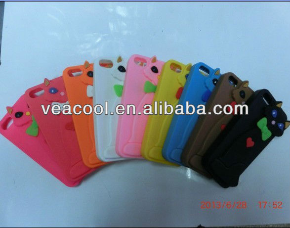 Cute 3D Cat Soft Silicone Back Skin Phone Case Cover For Apple iphone 5 5G 5S