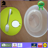 Oval Plastic Salad Lunch Box Food Storage with Fork & Dressing Pot Container