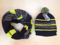 Boy's knitted stripe hat and scarf set with pom pom