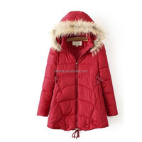Outdoor wear korea style beauty women padded jackets with fur hoodies
