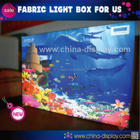 dye-sublimation print wood frame light box frameless tension led backlit fabric light box