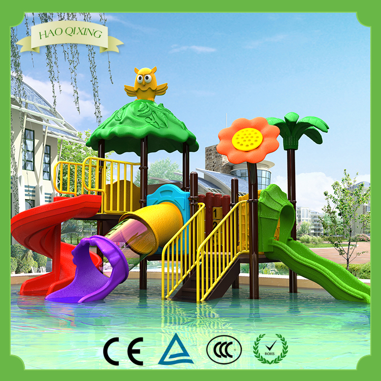 Large outdoor play equipment preschool children park swimming pool water slide