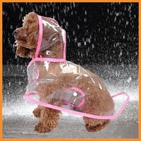 Waterproof Puppy Hooded Raincoat Transparent Pet Rainwear Clothes For Small Dog