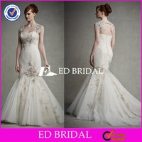 CE952 Gergeous Sexy Open Back Appliques Gold Lace Mermaid Discount Wedding Dresses
