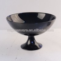 wholesale the classical black glass ceramic salad bowl with stems