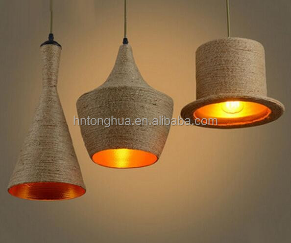 Vintage Loft Hemp Rope Pendant Lamp Home Office Bar Modern Lighting