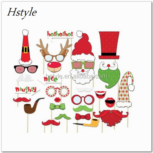 2017 Christmas Photo Booth Props On A Stick Moustache Christmas Decoration Small Order Allowed PFB201