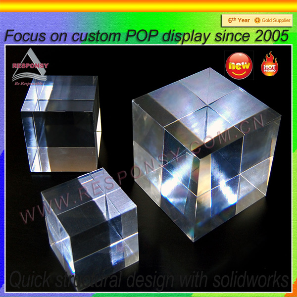 Clear solid acrylic display cube