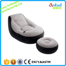 AMH82032 New Grey Black Inflatable Deluxe Flocked Sofa Chair and Footstool Relaxer Ottoman
