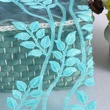 new design plain embroidery light blue net tulle lace fabric for girls dress