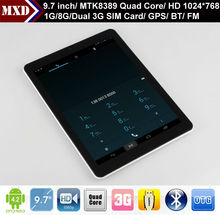 9.7 inch android 4.1 tablet MTK8389 Quad core Dual 3G SIM card slot with GPS, Bluetooth, Wifi, FM, calling function.