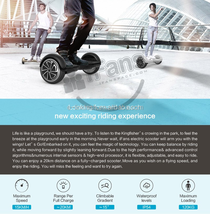 Self Balancing Electric Scooter 2 Wheel 10 inch Electric Skateboard with LED and Bluetooth