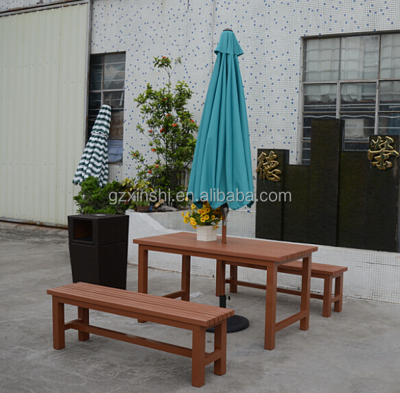Derong aluminum frame polywood outdoor furniture benches with table durable for outdoor condition
