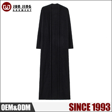 New Arrival solid color long sleeve maxi long black knit cardigan sweater