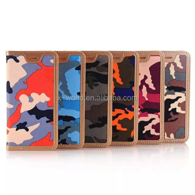 high quality handmade PU leather camouflage leather mobile phone case for iphone