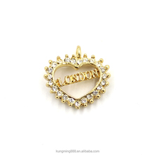 High quality jewelry 24K gold plated broken heart diamond pendant