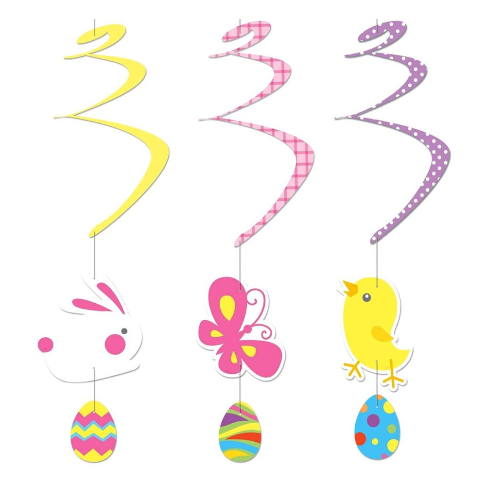 Easter Swirl Paper Hanging Ceiling Decorations (Bunny, Chick, Butterfly)