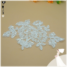 Quality Hand Made Exquisite Beaded Bridal Wedding Lace Appliques Lace Motifs with Handmade Beading Embellishment / Embroidery