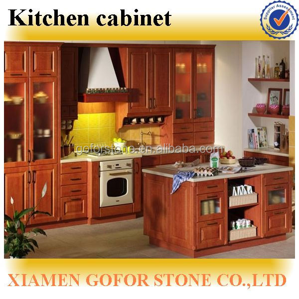 Red beech solid wood kitchen cabinet units prefab kitchen for Beech kitchen wall cupboards