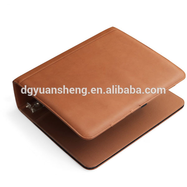 Creative design leather pocket folder 3 ring file bound folder