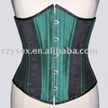 corset,underbust,Green & Black satin