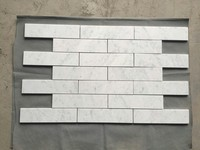 "3""x12"" italy carrara brick look white marble mosaic interior wall tile prices"