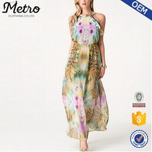 Wholesale Ladies High Quality Mix Color Overprinted Finery Maxi Dress