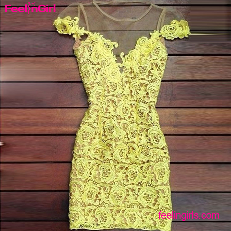 2016 Factory Price Private Label Yellow Bodycon Lace Dresses For Women