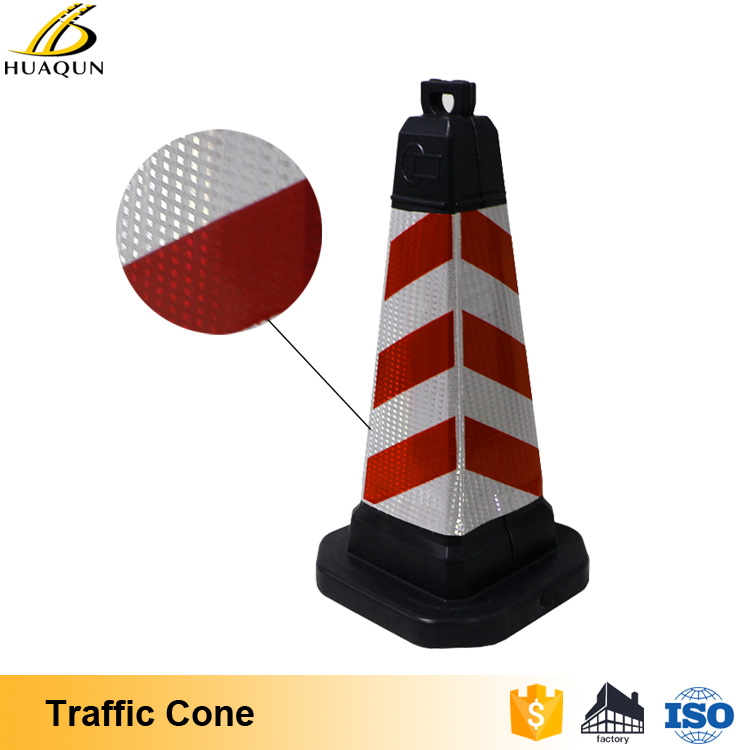 2017 Traffic flow guide rubber red traffic cones 18 with reflective sleeve
