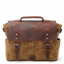 High quality crazy horse genuine leather and wax canvas briefcase man messenger bag