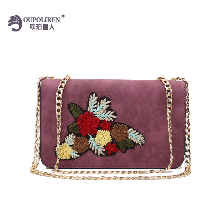 New Design Bags Women Handbag Embroidered Flower PU Leather Crossbody bag Chain Wallet Bags