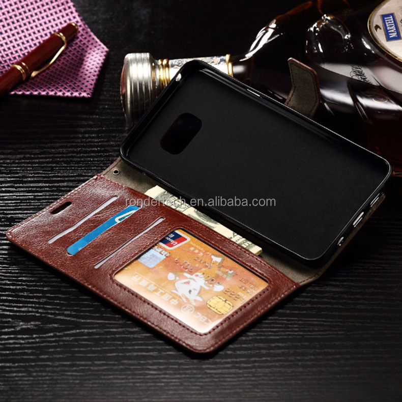 Brown color Wallet Flip Leather Cover Case For Samsung Galaxy Note 5, for note 5 leather case with lanyard