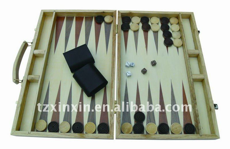 foldable Wooden Inlaid Backgammon With Dice