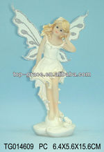Polyresin art show handmade angel fairy figurine with two wigs