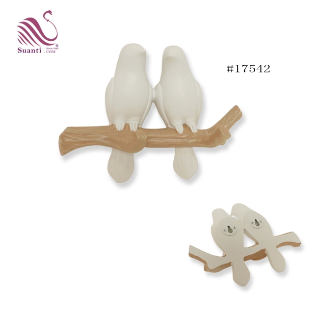 2019 New Creative Wall Hanging Decorative White Birds Coat Key Hooks for Home and Hotel Decor