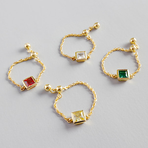 fashion 925 sterling silver 18k gold plated multi color zircon rhinestone chain ring jewelry for women