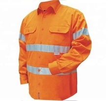 OEM Mens Hi Vis Safety <strong>Orange</strong> 100%cotton Long Sleeve Snap Front Work Shirts
