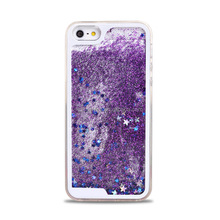 New Type Transparent Clear Glitter Star Dynamic Liquid Quicksand Phone Back Cover Phone Case For Iphone 5 6 6 plus