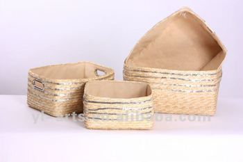 wholesale wheat straw storage baskets with metal handle