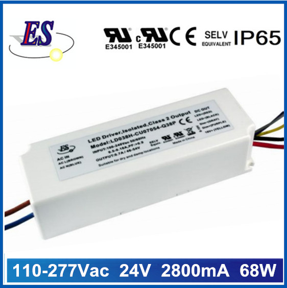 68W 24V 2800mA Constant Voltage LED Driver with 1-10V Dimming,UL CUL CE