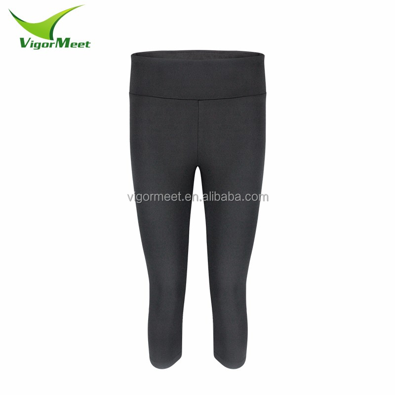 moisture wicking nylon lycra training wear compression pants cropped trousers