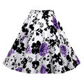 Women Vintage Style A-line Pleated Short Skirt with different floral print