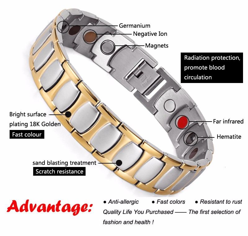 316I negative ion stainless steel bracelet man with magnets IP Gold Plating stock jewelry