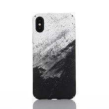 For iphone x 6 6 plus 7 7 plus black white art marble hard plastic phone <strong>case</strong>