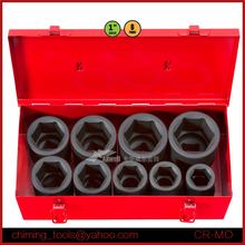 Hand Tool Manufacturer High Quality 9PC 1inch Metric Impact Socket Set Heavy Duty Repair Tool Kit With Blow Case Package
